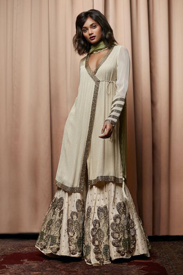 Embellished Angarkha Kurta & Sharara Set