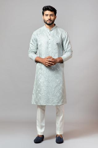 Linen Satin Embroidered Kurta Set