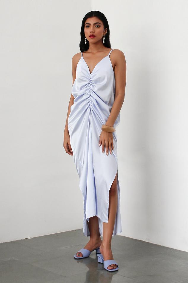 Ruched Satin Slip Dress