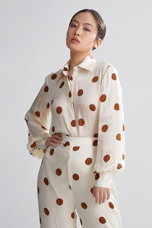Silk Polka Dot Print Shirt
