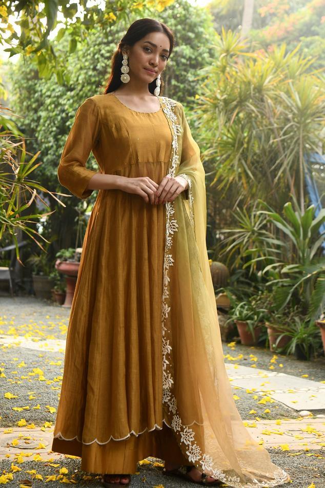 Handloom Chanderi Anarkali Set