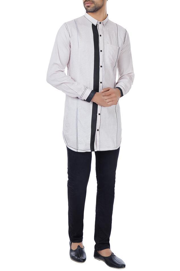 White & black organic silk collar shirt