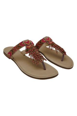 Multicolor embroidered sandals