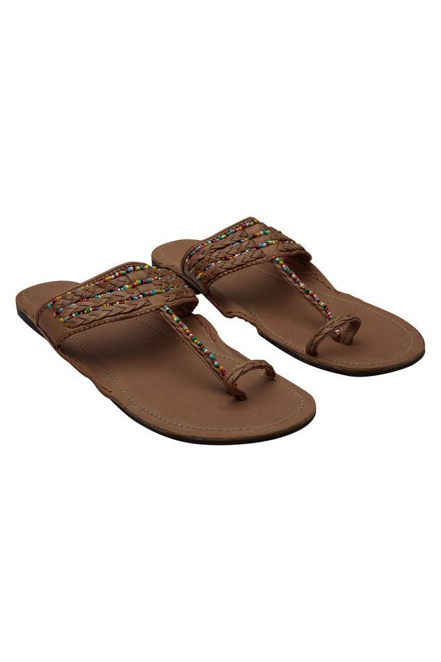 Multicolor bead work Kolhapuri sandals