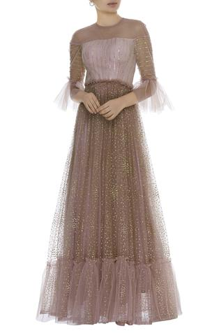 Sequin embroidered gown with bell sleeves