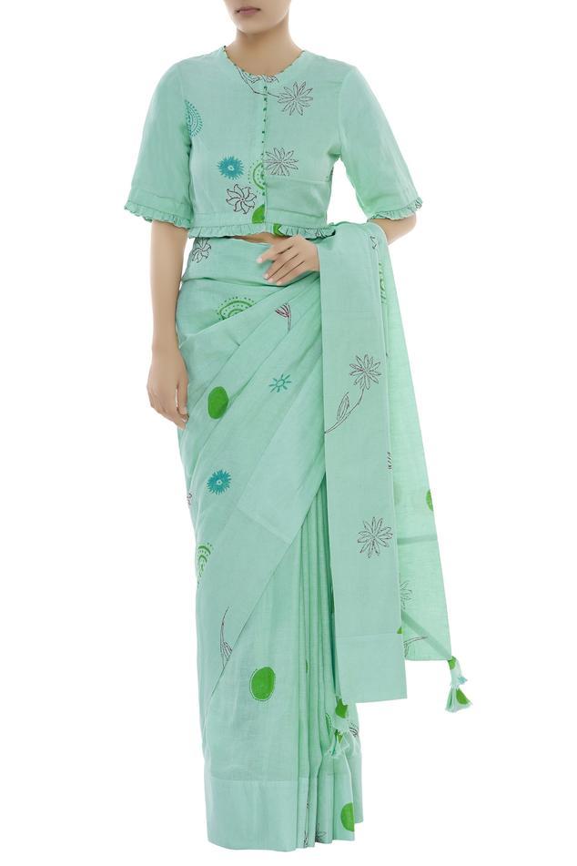 Linen Block Print Saree Blouse