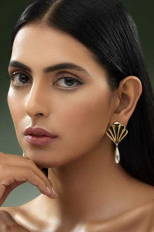 Shivan and Narresh shell crystal earrings