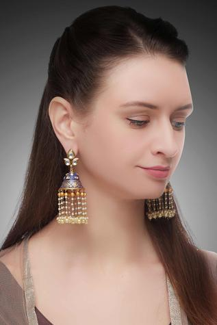 Kundan bell earrings