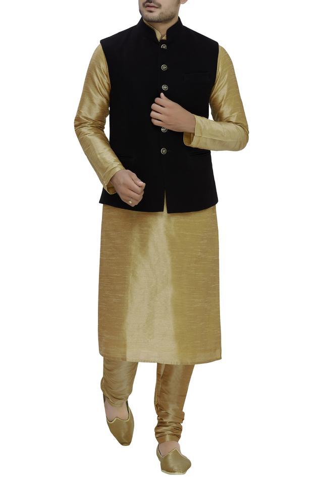 Raw Silk Bundi,Kurta & Churidar Set