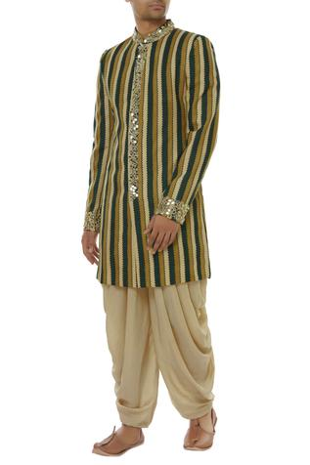 Striped sherwani & kurta set