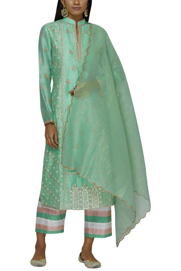 Silk Chanderi Embroidered Kurta Set