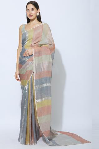 Linen Saree with Running Blouse Fabric