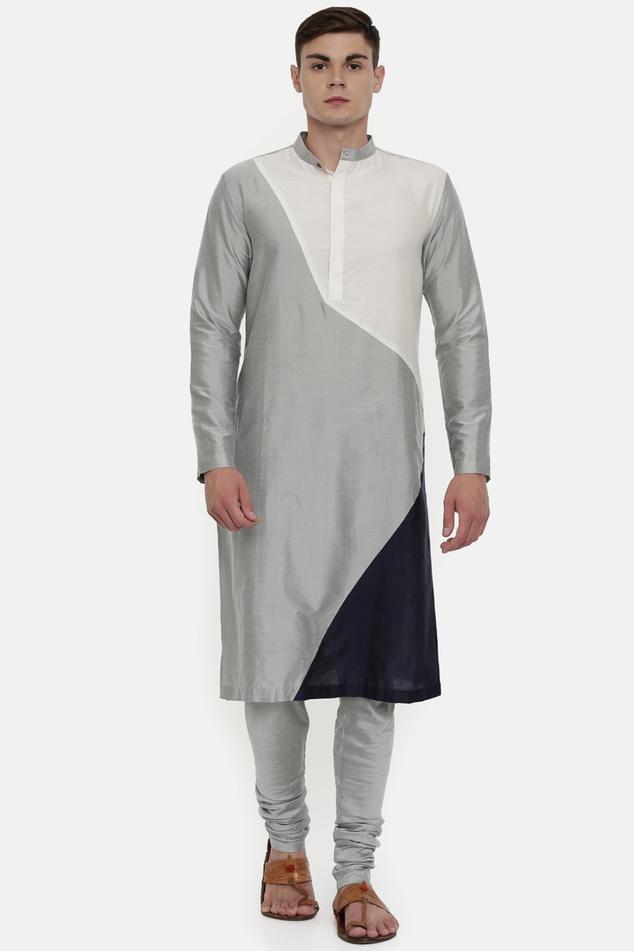 Silk Color Block Kurta Set