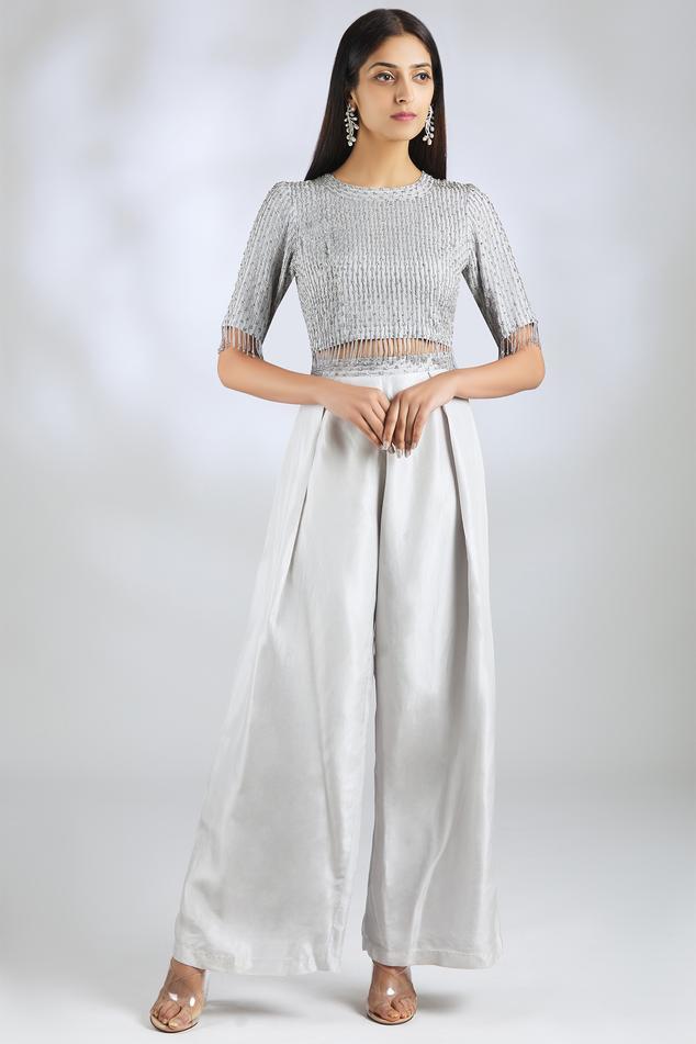 Embellished Top Pant Set