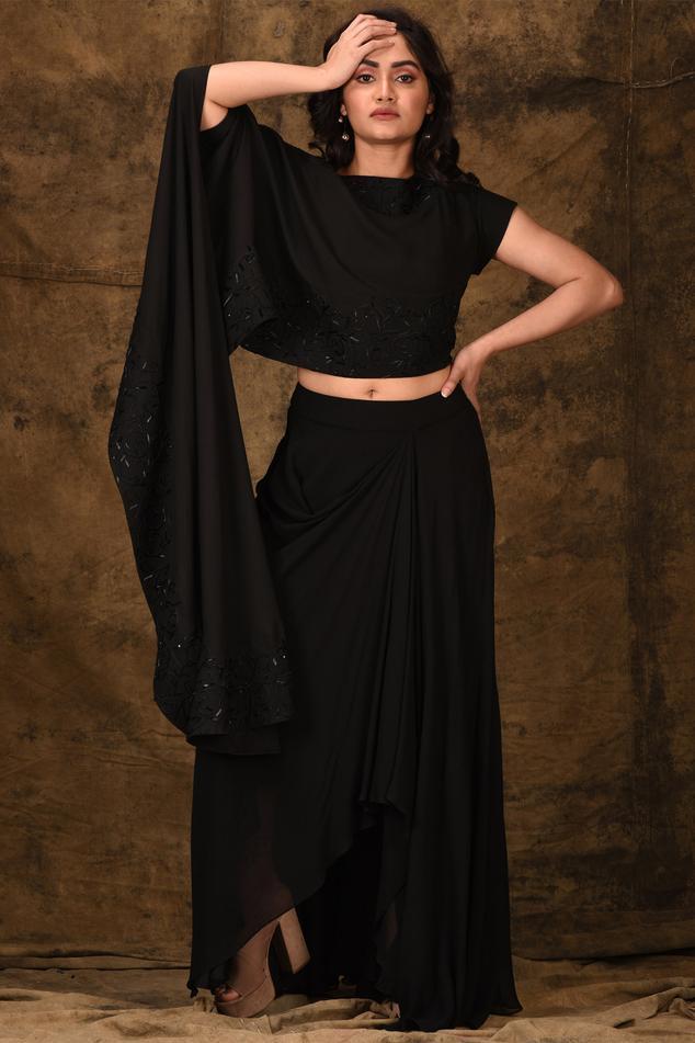 Asymmetric Draped Skirt Set