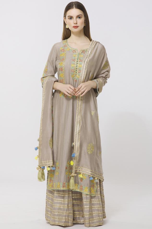 Cotton Chanderi Kurta Sharara Set