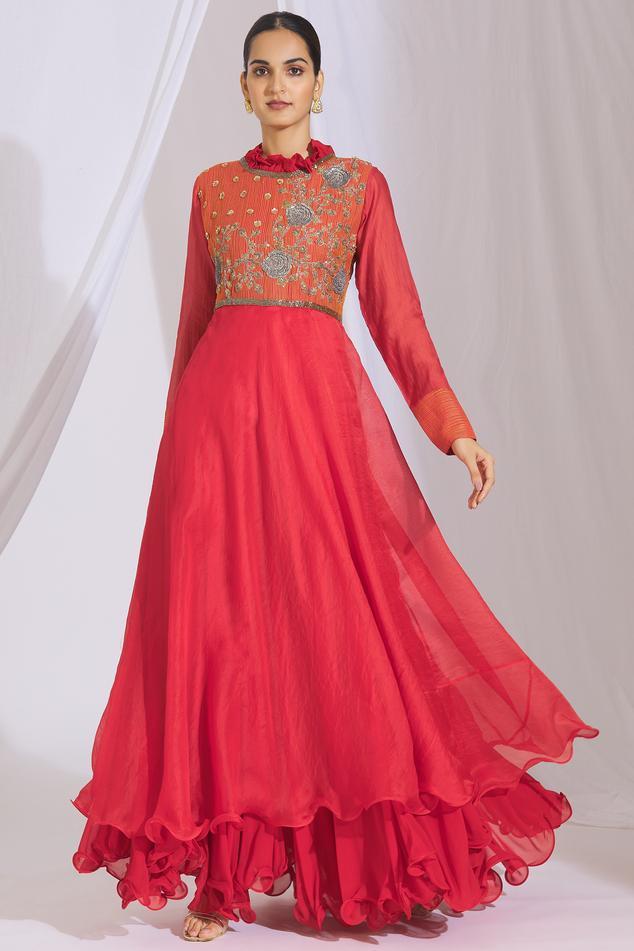 Embroidered Layered Anarkali