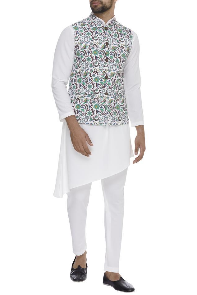 Floral Jaal Digital Printed Nehru Jacket