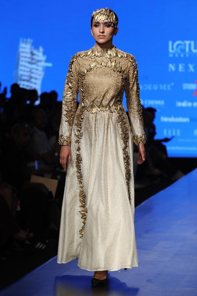 Chanderi Silk Embellished Gown