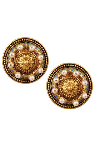 Amrapali Pearl Embedded Stud Earrings
