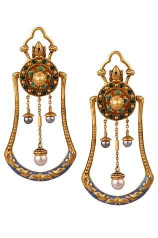 Amrapali Triple Pearl Drop Earrings