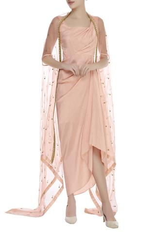 Draped tunic with embroidered cape