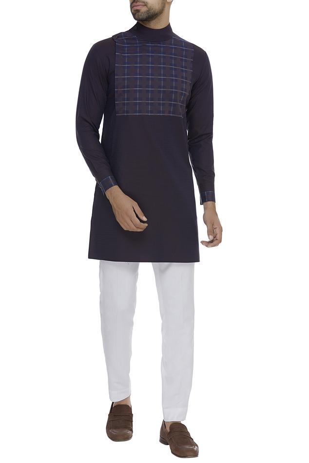 Checkered paneled kurta with pant