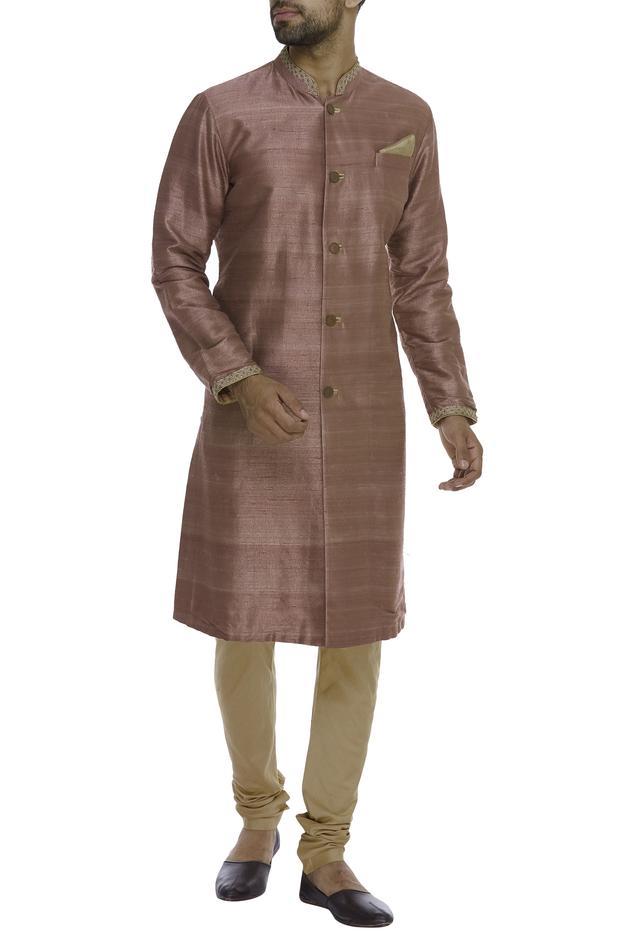 Embroidered neck & sleeve hem Kurta With Churidar