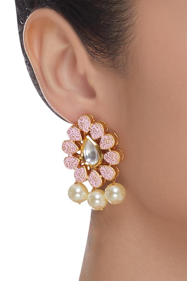 Meenakari drop studs