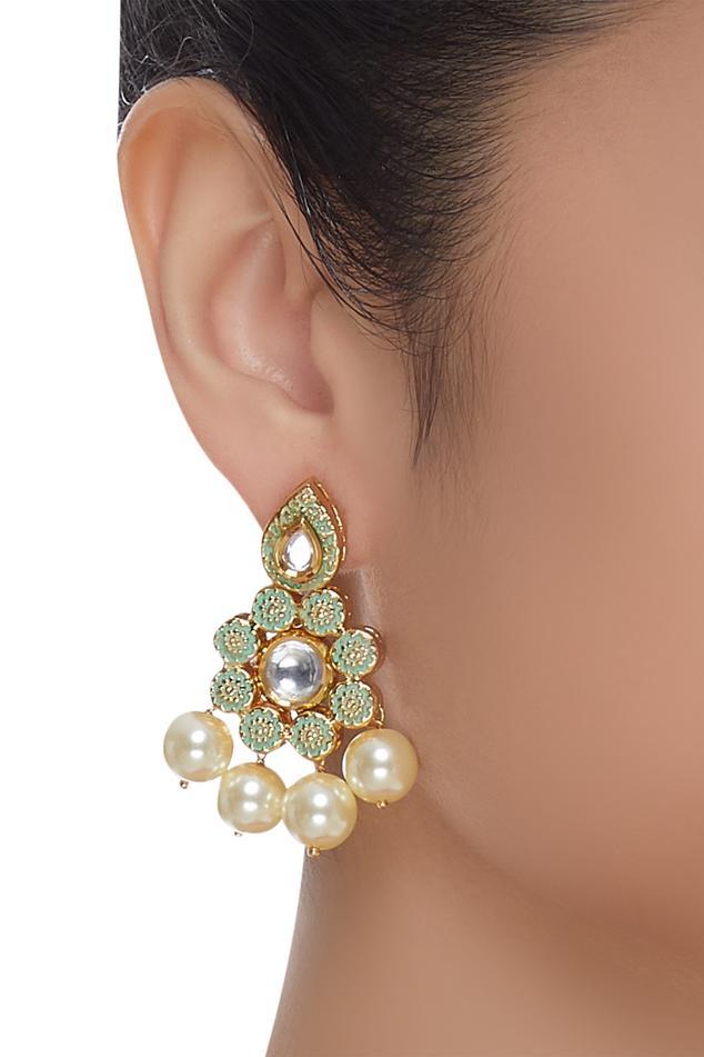 Meenakari floral earrings
