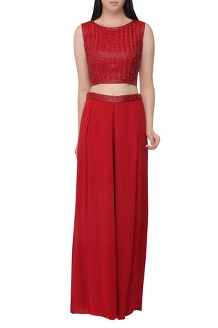 Leaf cutdana embroidered crop top palazzo set