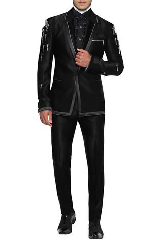 Single Breasted Zip detail Suit With Trousers