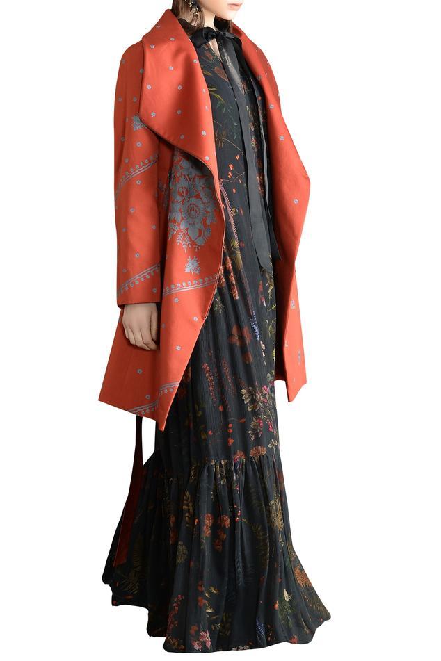 Floral motif Embellished Coat