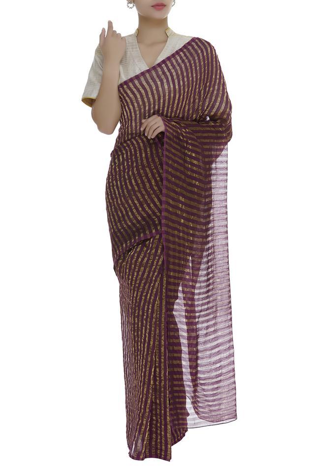 Chanderi stripe detail saree