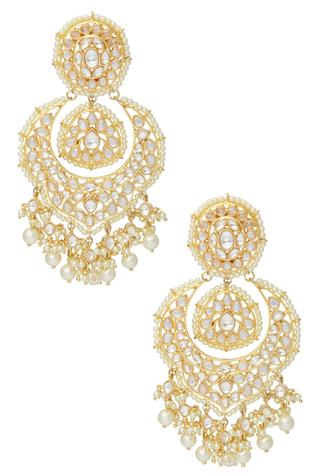Kundan Dangling Chandbali Earrings