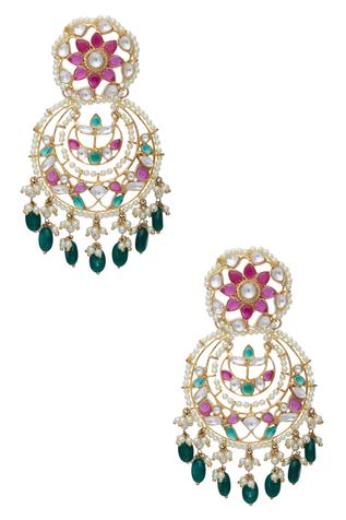 Floral Jaal Chandbali Earrings