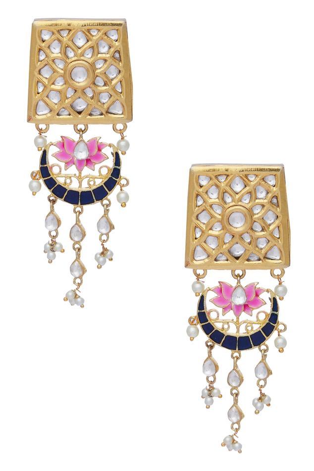 Lotus Dangling Meenakari Earrings