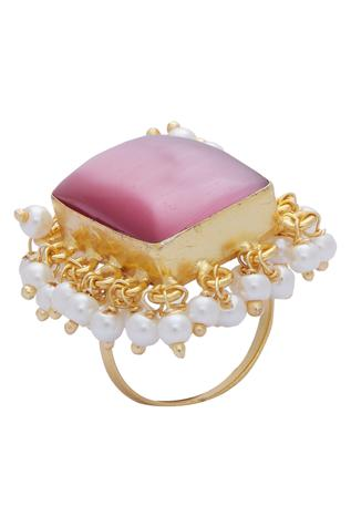 Hand Crafted Stone & Pearl Ring