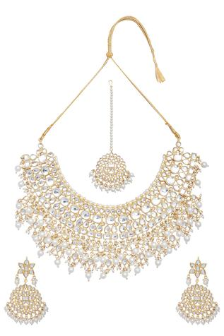 Kundan & Pearl Necklace,Mangtikka & Earring Set
