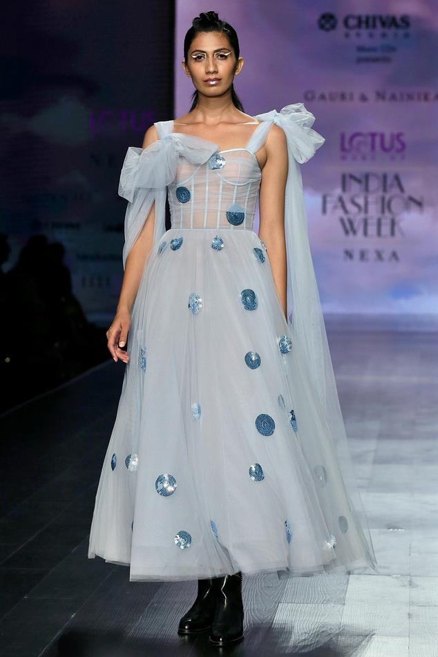 Embroidered Polka Dot Corset Dress