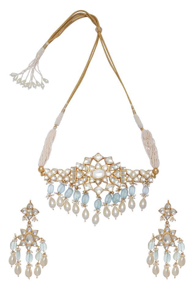 Kundan Flower Choker Necklace With Earrings