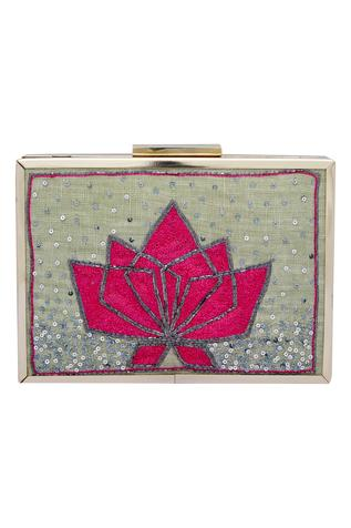 Lotus Pitta Embroidered Clutch Cum Sling bag