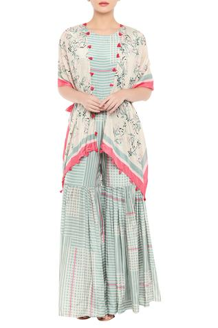 Cotton Silk Printed Jumpsuit with Jacket