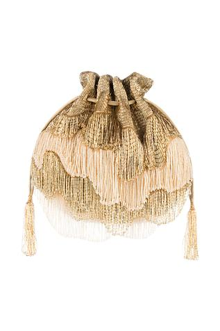 Gold Bead Fringed Potli Bag