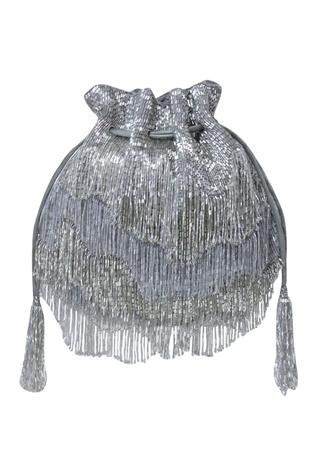 Silver Bead Fringed Potli Bag