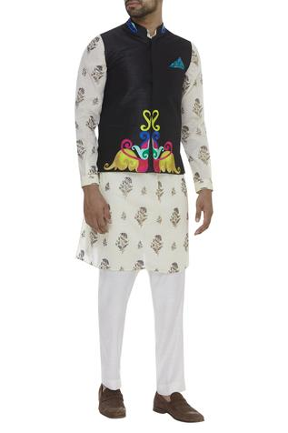 Resham Thread Embroidered Nehru Jacket