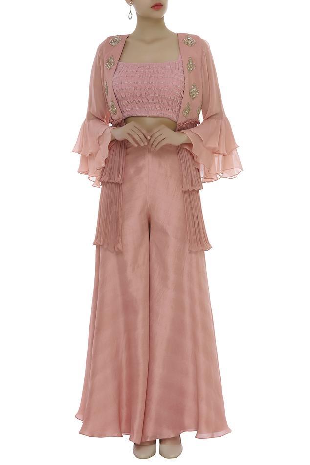 Embellished Smocked Blouse With Palazzo & Jacket