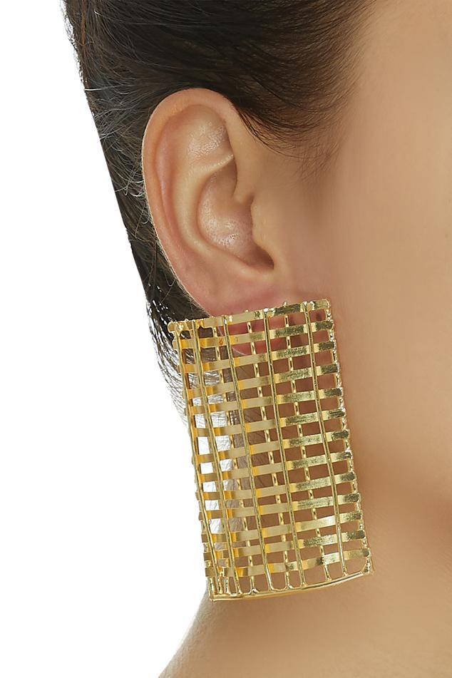 Rectangular weave pattern earrings