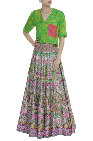 Floral Motifs Sequin Embroidered Skirt