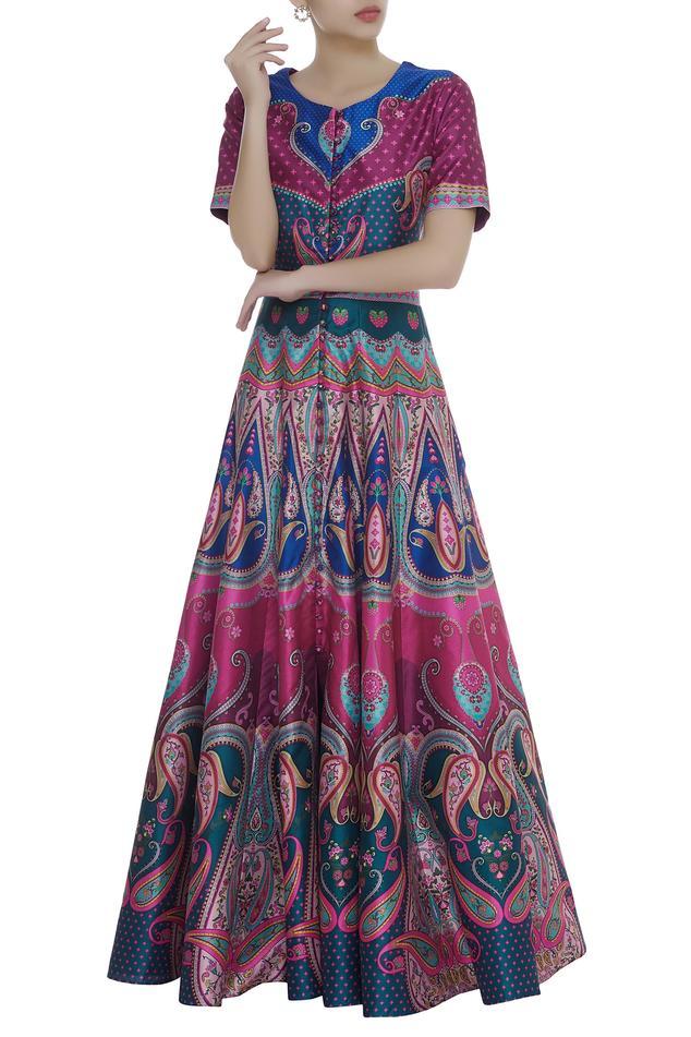 Button down Paisley Printed dress